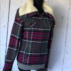 Roxy pink plaid jacket w shearling style hood